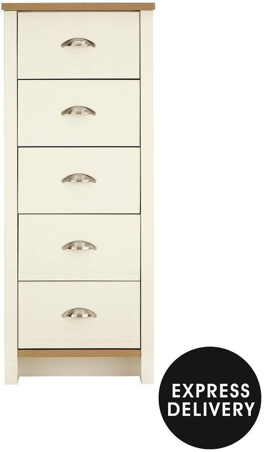 Tivoli Ready Assembled Tall Narrow Chest Of 5 Drawers
