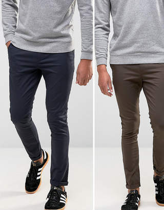 Asos DESIGN 2 Pack Super Skinny Chinos In Navy & Brown SAVE