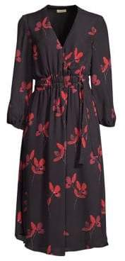 Shoshanna Waldorf Floral-Print A-Line Midi Dress