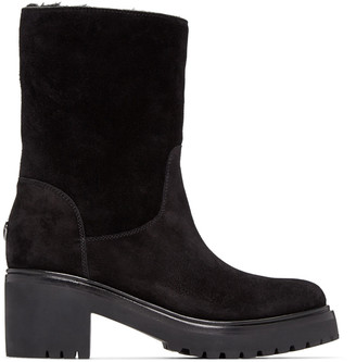 Moncler Black Suede Cassandre Boots $775 thestylecure.com