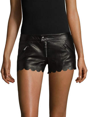 RED Valentino Leather Scalllop Short