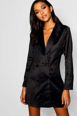 boohoo Satin Double Breasted Blazer Dress