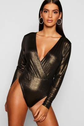 boohoo Metallic Foil Long Sleeve Wrap Bodysuit