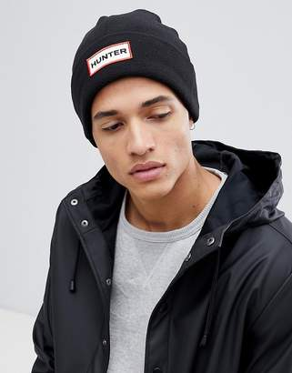 Hunter fleece beanie hat in black
