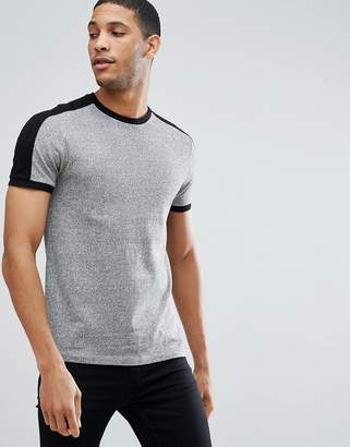 Asos DESIGN t-shirt with sleeve cut and sew in twisted jersey in gray