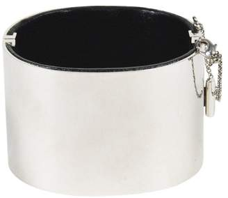 "Celine Silver Tone Hardware & Black Leather Chain Accented Hinged "" Edge"" Bracelet"