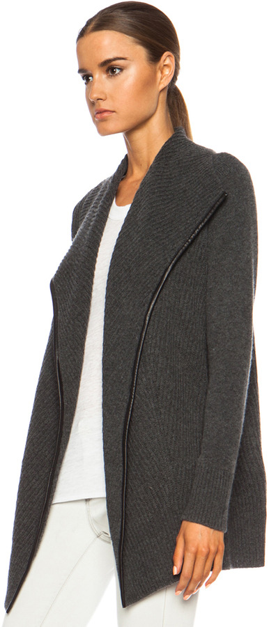 Vince Ribbed Drape Wool-Blend Cardigan in Heather Shadow