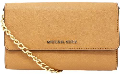 Michael Kors Women's Jet Set Travel Smartphone Crossbody Leather Cross Body Bag Satchel - Acorn - ACORN - STYLE