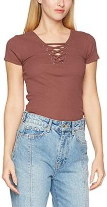 New Look Women's Lace up Rib T-Shirt