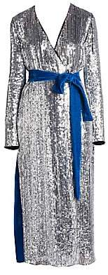 ATTICO Women's Sequin & Velvet Midi Robe Dress
