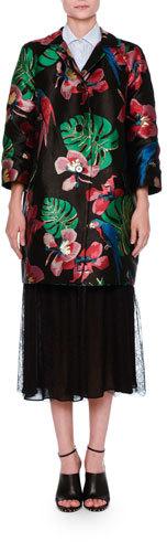 ValentinoValentino Bracelet-Sleeve Brocade Coat, Black/Multi