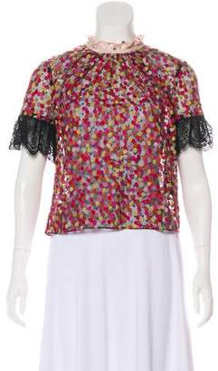Saloni Embroidery Tulle Top