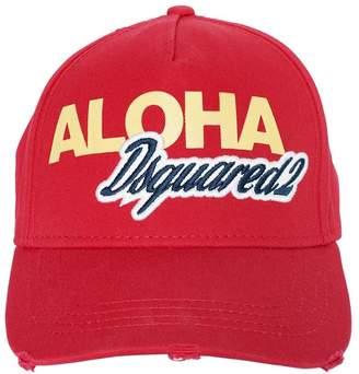DSQUARED2 Aloha Logo Cotton Canvas Baseball Hat