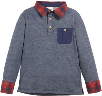 Fore French Terry Plaid-Trim Long-Sleeve Polo Top, Size 2-8