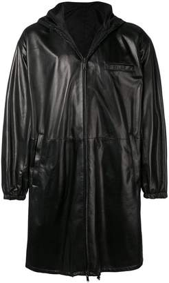 Prada hooded leather coat