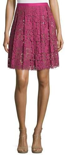 Michael Kors High-Waist Pleated Lace Skirt, Geranium