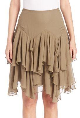 Polo Ralph Lauren Tiered Silk-Blend Gauze Skirt $245 thestylecure.com