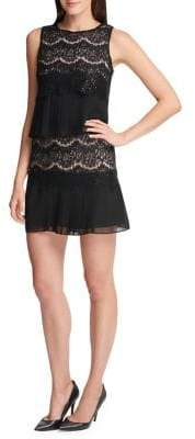 Kensie Sequin Lace Chiffon Dress