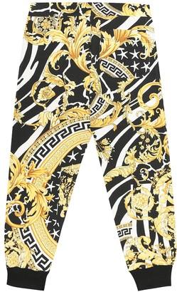 Versace Kids Hibiscus cotton-jersey sweatpants