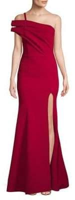 Nicole Bakti One-Shoulder Slit Gown