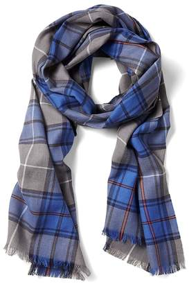 Banana Republic Framed Plaid Cotton-Wool Scarf
