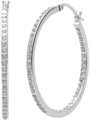 Mystique Diamond Platinum Over Silver Diamond Accent Hoop Earrings
