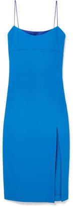 Haney - Olivia Satin-trimmed Crepe Midi Dress - Blue