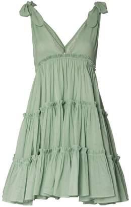 Innika Choo Big Frill V-neck ramie dress