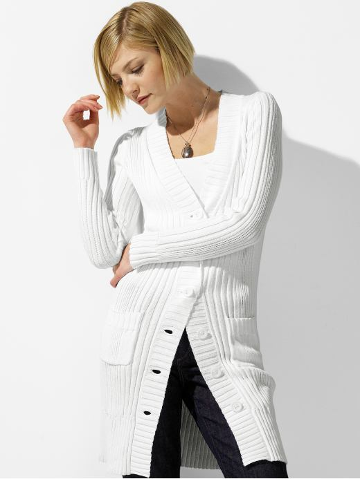 Cotton long ribbed cardigan