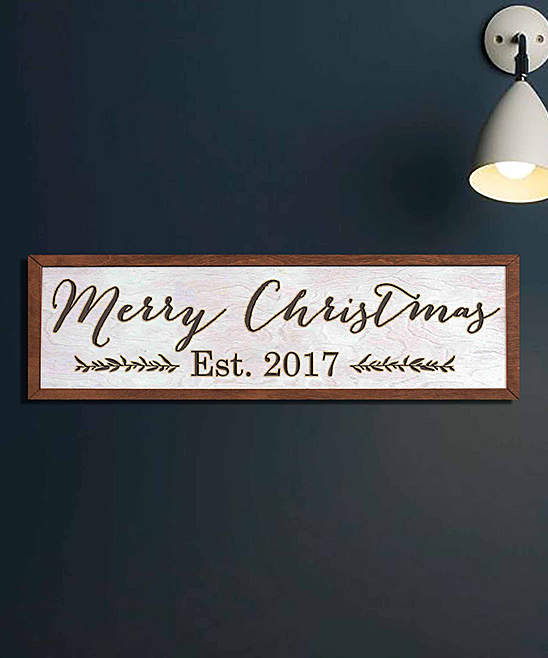 White 'Merry Christmas' Personalized Framed Sign