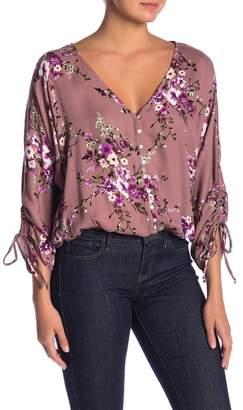Love Stitch Floral Ruched Drawstring Sleeve Top