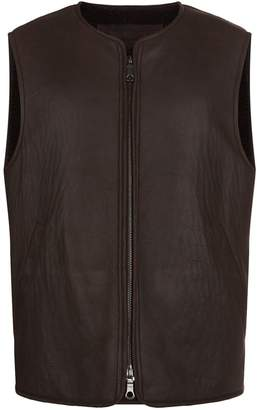 Purdey Leather and Shearling Gilet