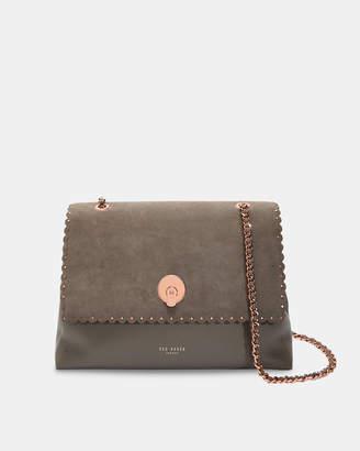 Ted Baker SORAYA Studded circle lock leather and suede shoulder bag