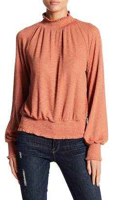 Free People Boulevard Mock Neck Long Sleeve Blouse