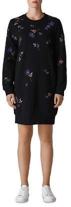Whistles Elderberry Embroidered Sweatshirt Dress