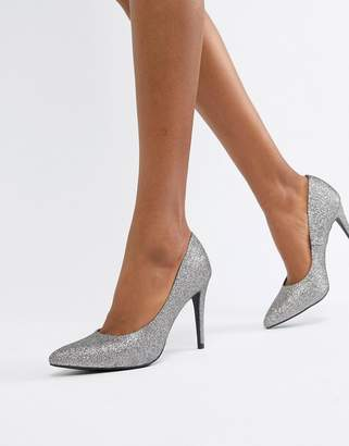 New Look glitter pointed court shoe