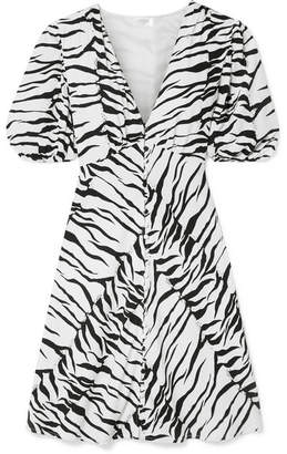 Rixo Zanita Zebra-print Crepe De Chine Mini Dress