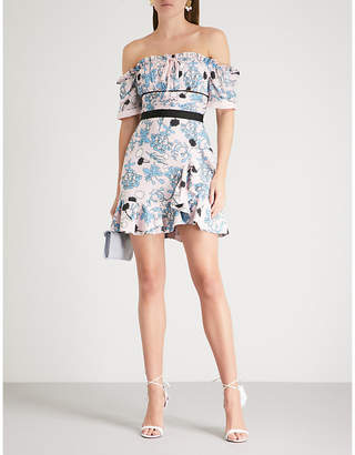 Self-Portrait Floral-print frill off-the-shoulder crepe dress