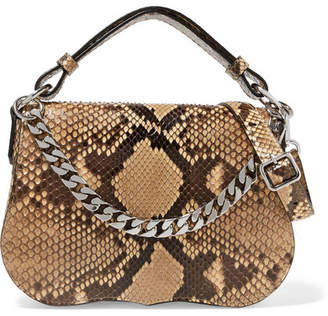 Calvin Klein Chain Trimmed Python Shoulder Bag Snake Print