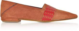 Rodo Rust Suede and Fiamma Red Fabric Loafers