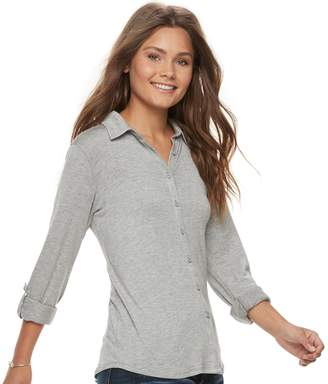Love, Fire Love Fire Juniors' Knit Button Front Shirt