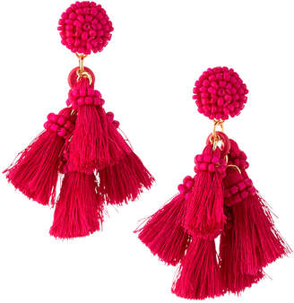 Lydell NYC Multi-Tassel Drop Earrings, Fuchsia