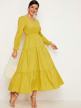 Shein Button Front Elastic Waist Longline Dress