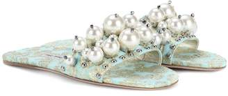 Miu Miu Embellished jacquard slides