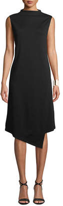 Eileen Fisher Mock-Neck Ponte-Knit Faux-Wrap Dress