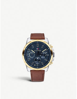 Tommy Hilfiger 1791561 Decker yellow-gold plated steel and leather chronograph watch