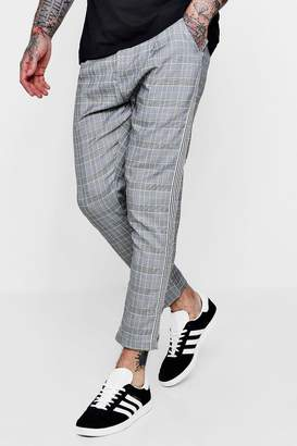 boohoo Smart Checked Cropped Joggers With Taping