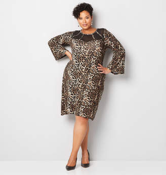 Avenue Animal Print Hacci Sheath Dress