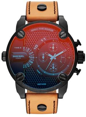 Diesel R) Little Daddy Leather Strap Chronograph Watch, 52mm