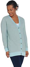 Martha Stewart Button Front Long SleeveCardigan